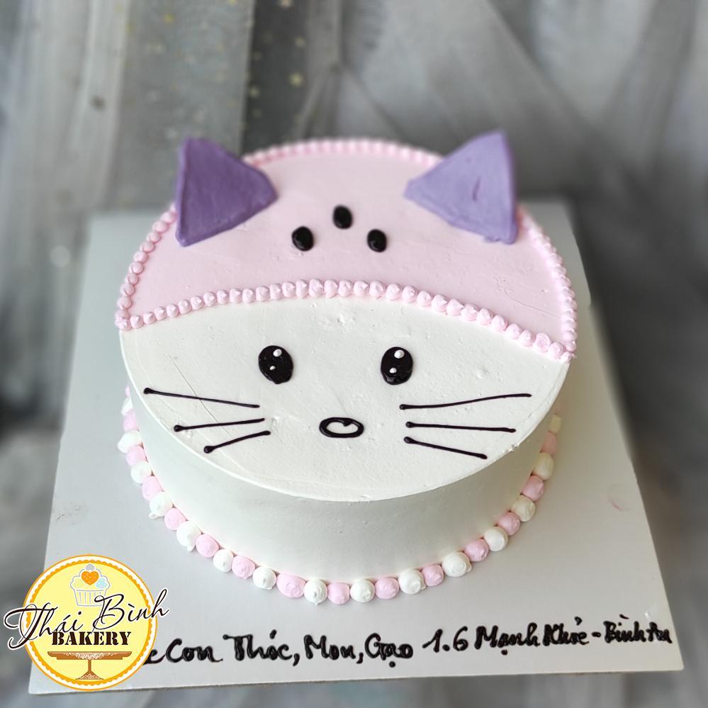 Bánh kem mặt chú mèo kitty tông hồng dễ thương
