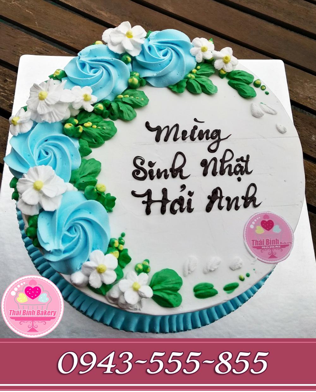 Bánh kem nghệ thuật trang trí hoa hồng tông xanh