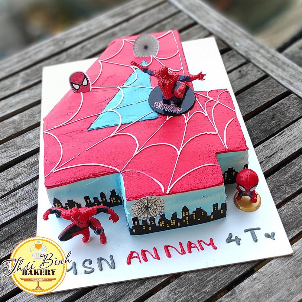 Bánh kem hình số 4 người nhện độc lạ