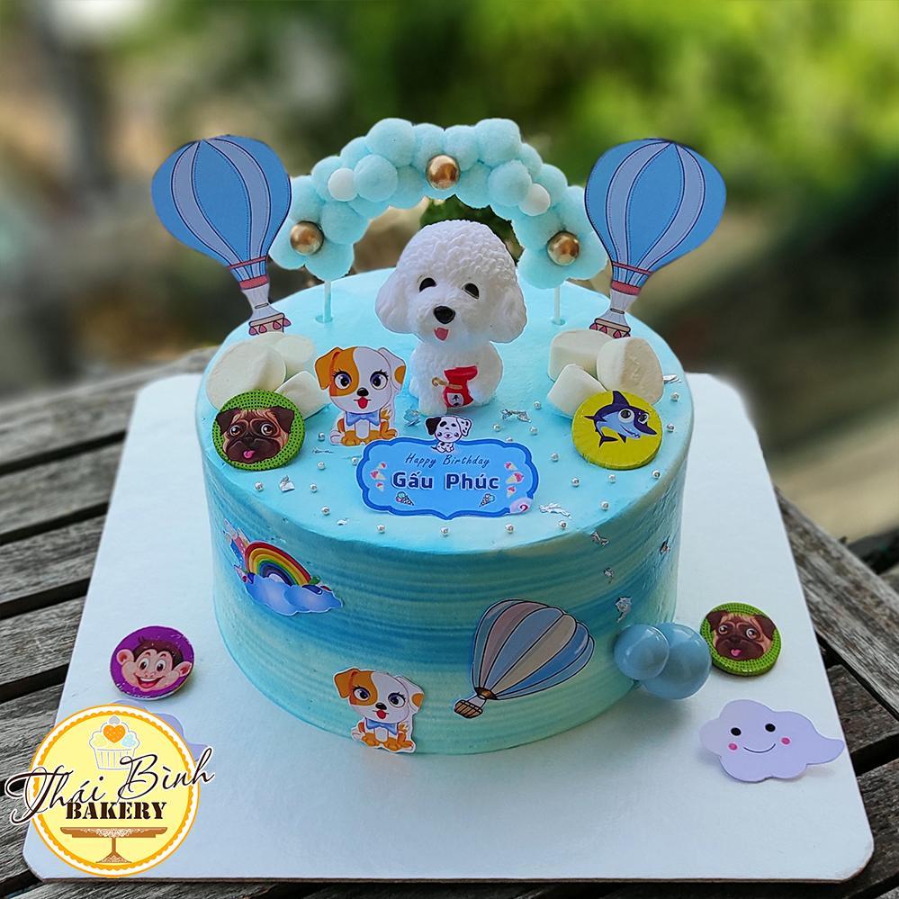Bánh kem hình con Chó tông xanh tặng bé tuổi Tuất