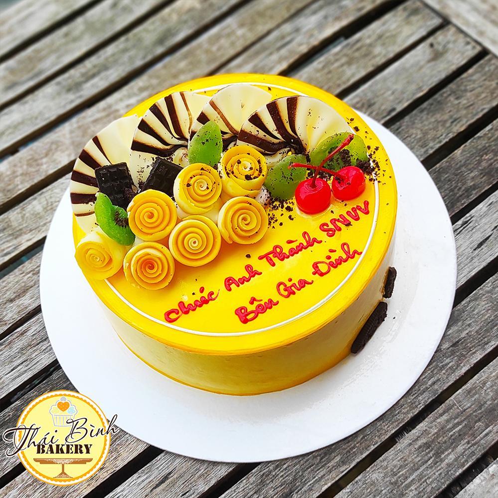Bánh kem hoa sô đơn giản tông vàng tặng bạn bè