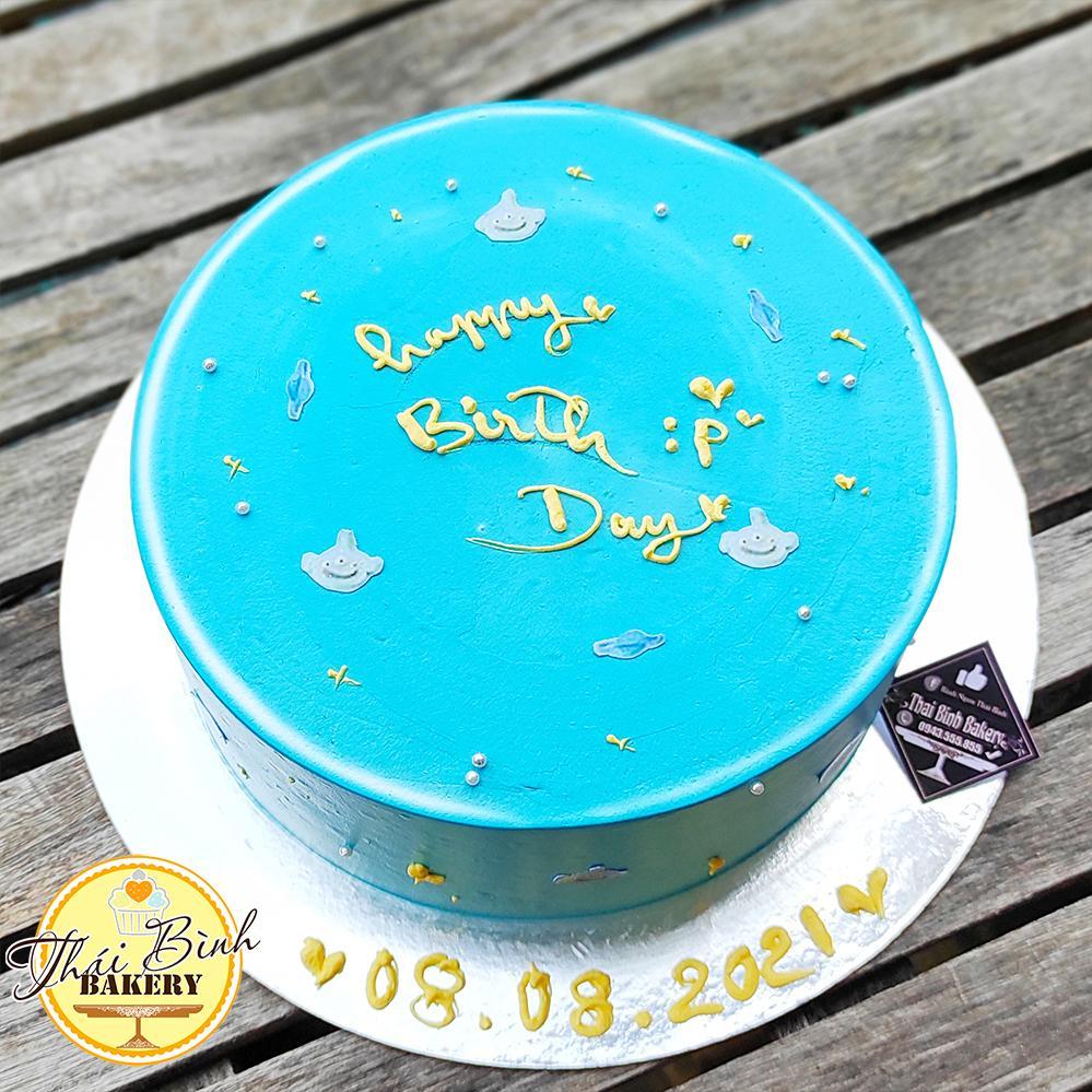Bánh kem đơn giản đẹp tông xanh tặng bạn bè