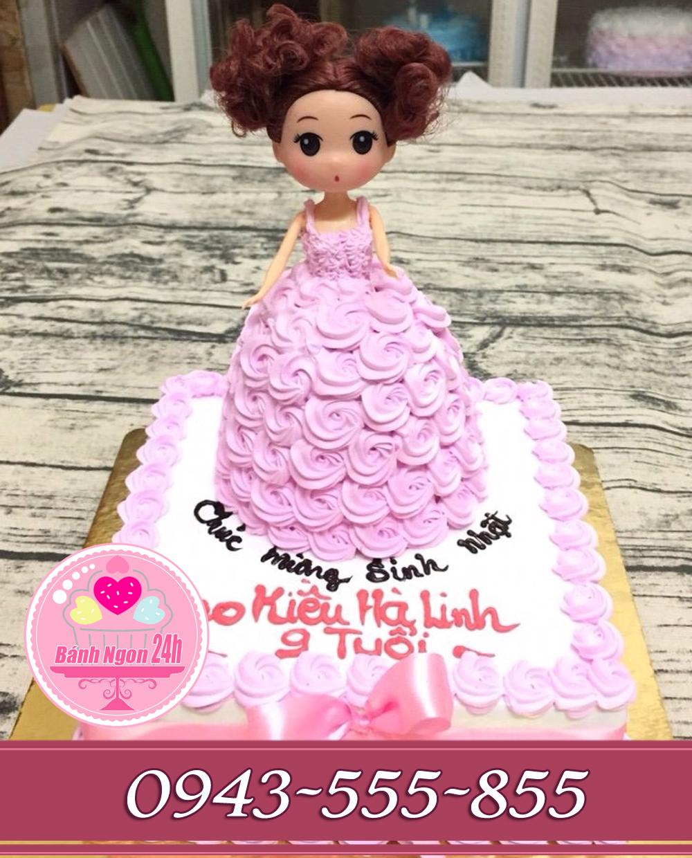 bánh búp bê tông hồng tặng bé gái