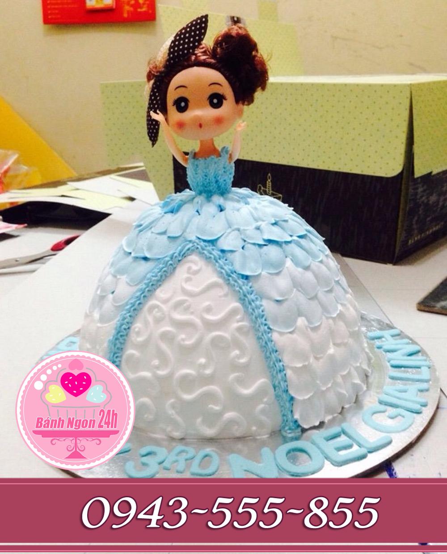 Bánh búp bê váy xanh biển tặng bé gái