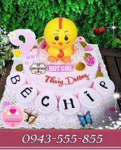 bánh kem tạo hình 3d nhân vật tặng bé gái 2 tuổi  hình con gà