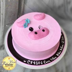 Bánh kem mặt lợn 3D tông hồng