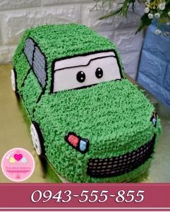 bánh kem ô tô 3d tông xanh lá cây tặng bé zai