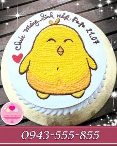 Bánh kem vẽ bé gà kute tông vàng trắng