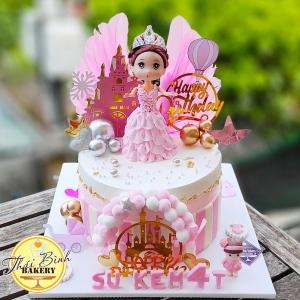 Bánh kem công chúa búp bê vương miện gắn fondant