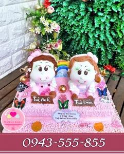 Bánh kem tạo hình 3d tặng sinh nhật 2 bé gái dễ thương