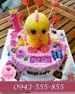 bánh sinh nhật bé mít đắp gà 3d thú nổi tông hồng tặng bé gái