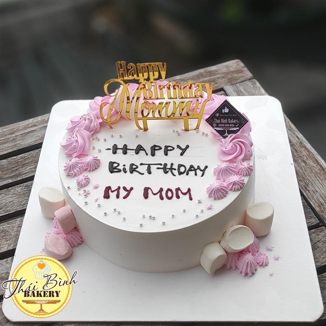 Bánh kem xoáy hoa hồng cắm chữ happy birthday