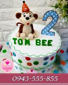 bánh fondant 3d tặng bé tuổi khỉ 2 sinh nhật lần thứ 2