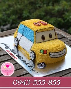 bánh kem ô tô vàng xanh